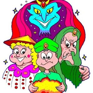 We have a disappointed Aladdin holding a rock surrounded by Abanazar and Widow Twankey overlooked by the Genie!