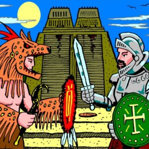 Aztec warrior and Spanish soldier in front of the Golden City, Tenochtitlan