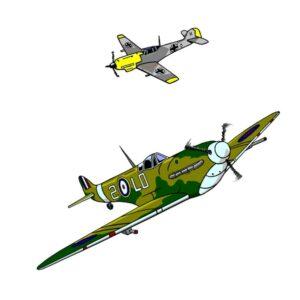 A Spitfire in the sky and above it is a German Messerschmitt
