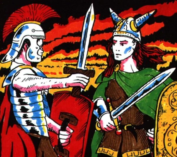We have an image of a roman soldier raising his sword to Boudica