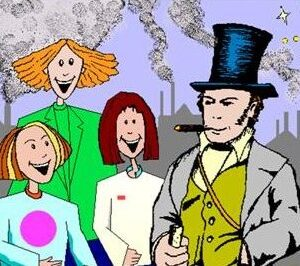IK Brunel with some school children in front of smoking factories