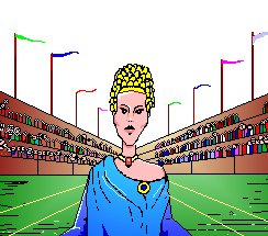 A drawing of Callipateira in front of the Olympic stadium.