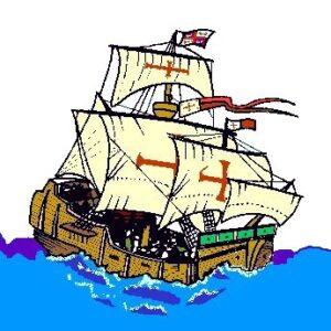 Columbus's ship in rough seas as it crosses the Atlantic