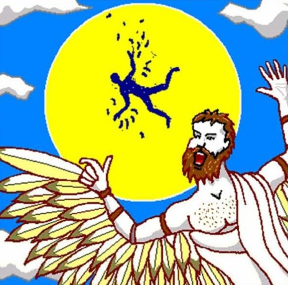 Icarus flying close to the sun