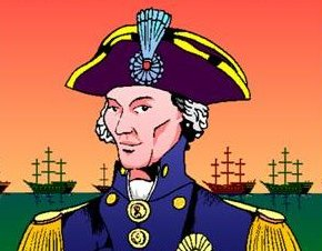 Admiral Lord Nelson in full regalia with a background of his ships