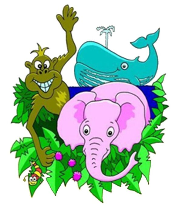 A pink elephant under a blue whale that is shooting water up into the air while a chimpanzee is waving from the right.