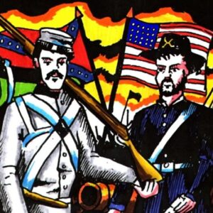 A Union and Confederate Soldier in front of their respective flags