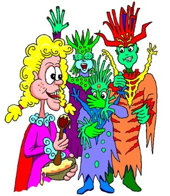 A blond Goldilocks standing with the three scares which are friendly monsters