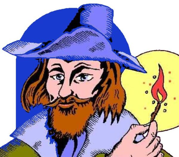 Guy Fawkes holding a lit match