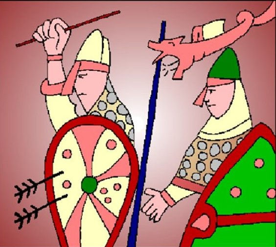 A Norman Soldier coming up behind an English one in the format of the Bayeux Tapestry.