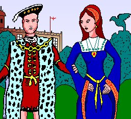 Henry and Anne Boleyn are in the garden in front of Hampton Court