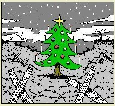 A decorated Christmas tree in no-mans-land
