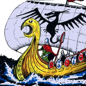 Viking long boat with a Viking Warrior standing at the front