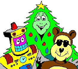 CD-Ron a robot and cool dude teddy bear in front of a smiling Christmas Tree