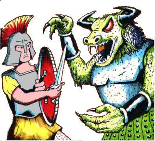 Theseus fighting the minitour.