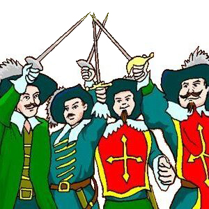 The Three Musketeers and d'Artagnan holding their swords in the air.