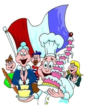 A smiling cook with a big hat holding a many tiered cake in front of some French characters in front of a French flag