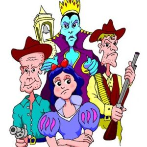 Snow White with two cowboys overlooked by her Wicked Stepmother