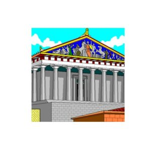 The outside of the Council Chamber as we imagine it, with Greek columns with a colourful mural above.