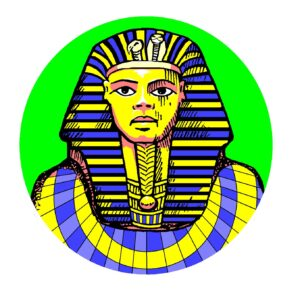 The Boy King, Tutankhamun, with full Egyptian headdress surrounded by a green hue.