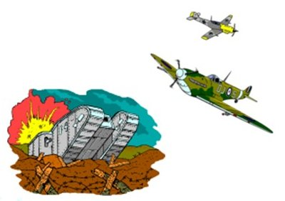 A split picture with a World War One tank, and above them a Spitfire and Messerschmitt chasing each other.