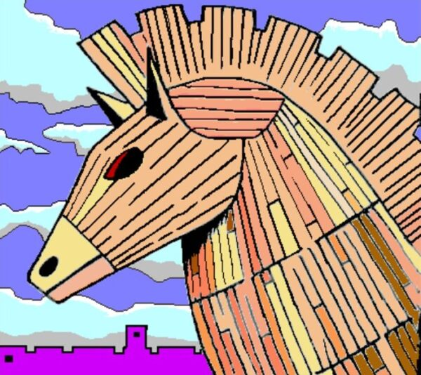 A picture of just the head of the Wooden Horse