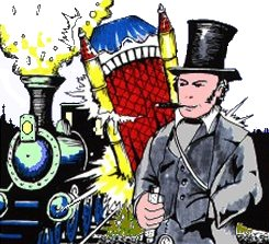 IK Brunel with his top hat in front of a Steam Train