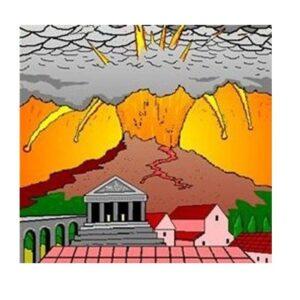 Pompeii under the explosion of Vesuvius
